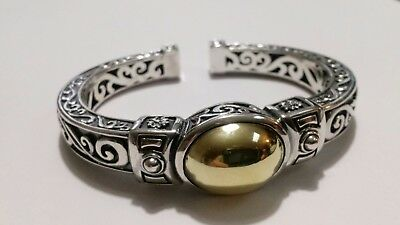 Bali Style Hinged Cuff Bangle Bracelet in Sterling & 18K Gold  Signed Ann King