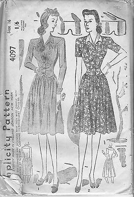 Two styles of Dresses on a Circular Yolk and Dirndl-type Skirt circa 1940's