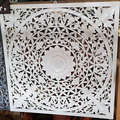 White Wash Mandala Wood Shabby Chic Wall Art Hanging Panel Carving Bali 100Cm