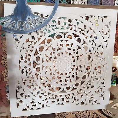 White Wash Mandala Wood Shabby Chic Wall Art Hanging Panel Carving Bali 60Cm