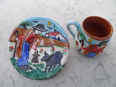 Portuguese Traditional Hand Painted Coffee Cup and Saucer With Shepherd