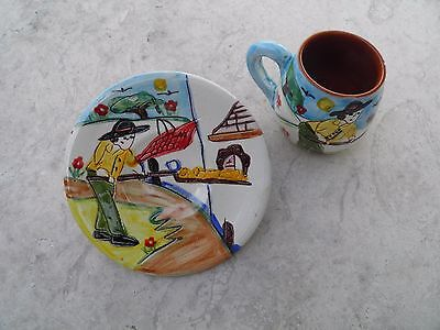 Portuguese Traditional Hand Painted Coffee Cup and Saucer With Man Making Bread
