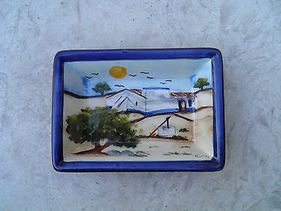 Portuguese Traditional Hand Painted Rectangular Bolw With Alentejo's Landscape