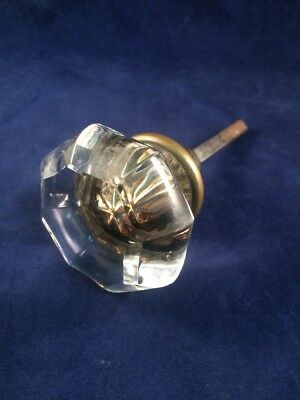 One Antique Vtg OCTAGONAL 8 POINT GLASS & BRASS KNOB With Spindle