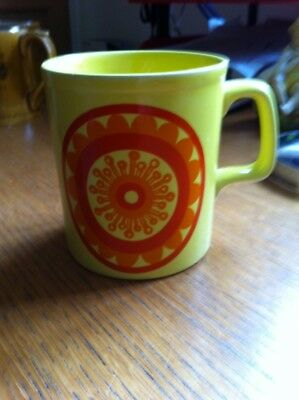 1960s Original Groovy Yellow Mug by Staffordshire Potteries