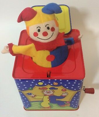 Vintage Schylling Jack In The Box Clown Jester Collectible Tin Toy