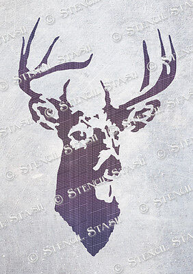 Stag Head STENCIL Mini A6 Vintage Christmas Craft, Reusable, SUPERIOR 250 MYLAR
