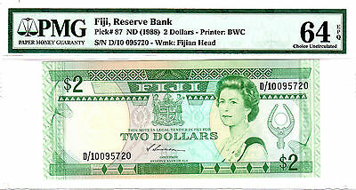 1988  Fiji, Reserve Bank $2 Queen Elizabeth - PMG 64 EPQ Choice UNC