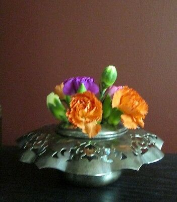 ANTIQUE SILVERPLATE EP COPPER FLOWER FROG VASE Benedict Proctor Can RETICULATED!