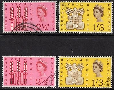 sg.634-35p.      freedom from hunger.   ordinary/phosphor sets.   VFU.