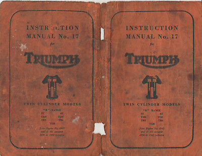 1964 Instruction Manual No 17 For Triumph Twin Cylinder Models B Range