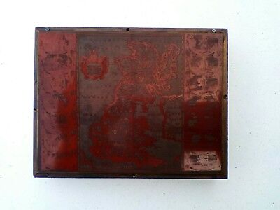 letterpress printing block. Old Britannia map.
