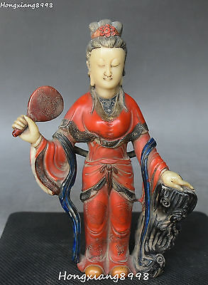 18CM Chinese Shoushan Stone Painting Carving Belle Beauty Belle Hold Fan Statue