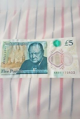 £5 Polymer note serial number commencing AA01...