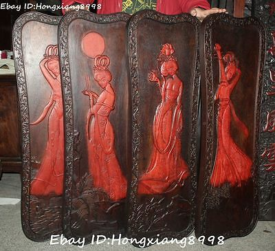 "38"" Old China Redwood Wood Carving 4 Four Beauty Belle Screen Byobu Pingfeng Set"