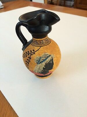 Vintage  Athens hand painted Greek Pottery  Hand Made  Pitcher