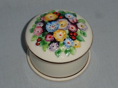 Tuscan China flower encrusted trinket box