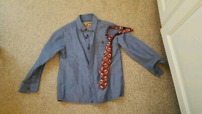 Boys denim shirt with reindeer/xmas tie age 3-4 by NEXT