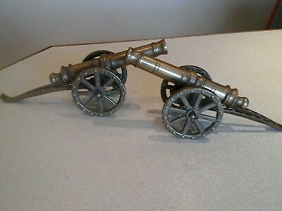 vintage  pair of  brass  model cannons