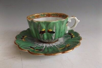 Antique Chinese Export Famille Verte Cup & Saucer with Butterfly & Cabbage Leaf