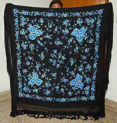 Antique Beautiful Chinese Hand Embroidered Silk Piano Shawl Multi Color Ps89
