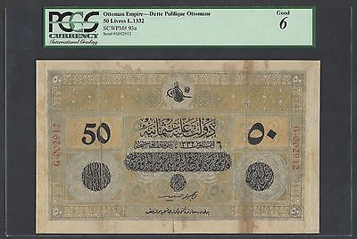 Turkey-Ottoman 50 Lira L1332 P93a Good