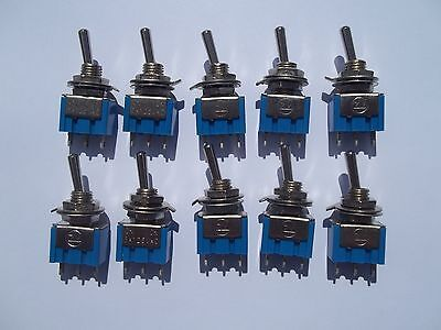 Qty 10 x Miniature Toggle Switch 125v/6A on/on SPDT