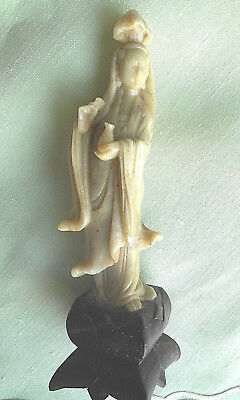 Antique 1930, Chinese Beauty,carving Jade ,figurine, Base Solid Wood Like Lotus