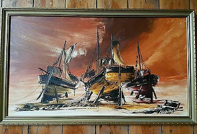 Bill Hawkes Listed Artist Original Oil Painting Quot Boats