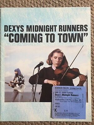 Dexys Midnight Runners Coming to Town Tour Programme plus Admission Ticket.