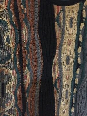 VINTAGE TUNDRA CANADA JUMPER SWEATER COSBY COOGI Textured MULTI COTTON  L Rusts
