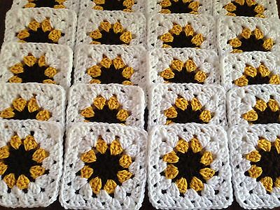 "20 5"" BROWN EYED SUSAN FLOWER Hand Crocheted GRANNY SQUARES Blocks AFGHAN THROW"