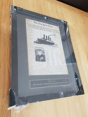 """RMS Titanic News paper front page Framed Poster Wall mounted 17"""" x 13"""""""