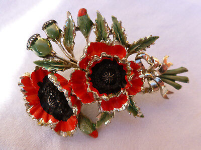 Vintage 1950's Birthday Series  Red Enamel Poppy Brooch Signed Exquisite