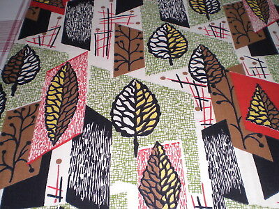 Vintage 50s Midcentury Cotton Fabric Remnant