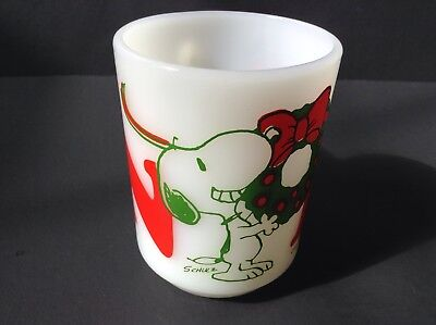 Vintage Fire King Snoopy Noel Christmas Mug