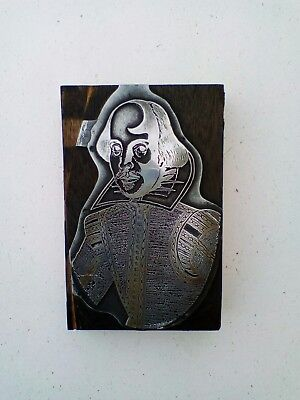 letterpress block. William Shakespeare.