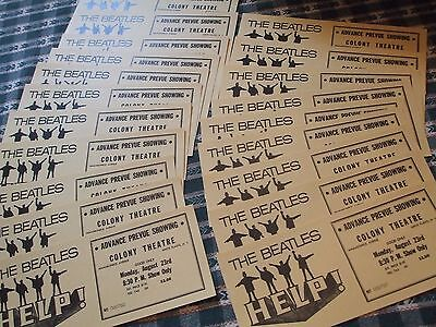 14  Tickets,,,the Beatles Original Unsold Movie Tickets For Help From 1965