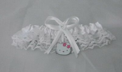 Wedding Ceremony Hello Kitty Rhinestone Garter Bridal Garters White