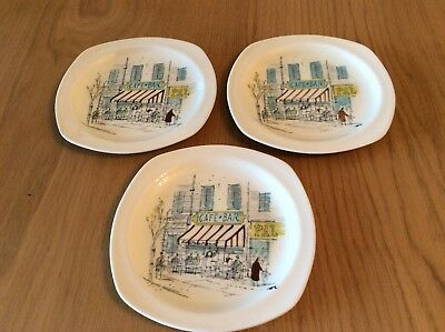 Three Midwinter Riviera Plates- 15.5 cm across. Hugh Carson design.