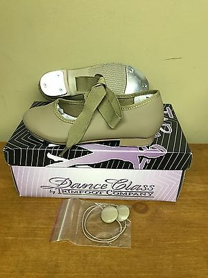 New Trimfoot Tap Shoe Girls Dance Class Patent Leather Ribbon Multiple Sizes Tan