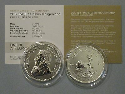 2017 South Africa 1oz. Silver Krugerrand From Roll of First Release Gem Specimen