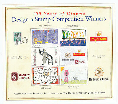 GB MNH 1996 100 Years of Cinema Design a Stamp Competition Winners M/S