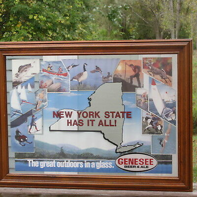 Genesee Beer New York Has It All Mirror Sign Snowmobile Hunting Fishing Camp Usa