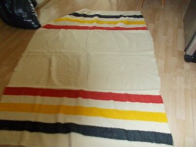 VINTAGE  Wool Blanket Hudson Bay Style FULL SIZE CREAM WITH COLORED STRIPES
