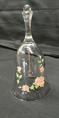 Vintage Avon 24% Full Lead Crystal Clear Glass Bell With Pink Rose