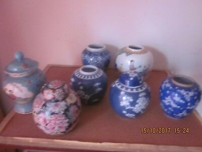 Job Lot Of 7 Antique Chinese Republic Period Blue And White Famille Rose  Jars.