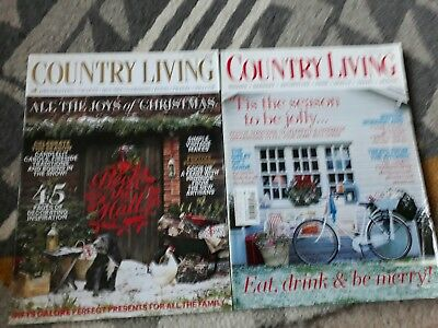 2 x Country Living Xmas Magazines - December 2012 & 2014