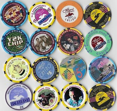 Nice 16 Casino Chip Lot-HOLLYWOOD PARK Chips-All Obsolete-Closed 2013