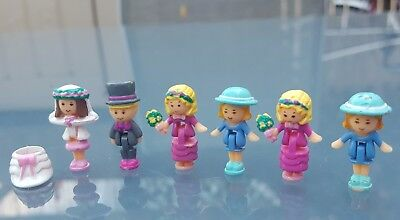 Vintage Polly Pocket 6 Wedding Dolls/Figures VGC